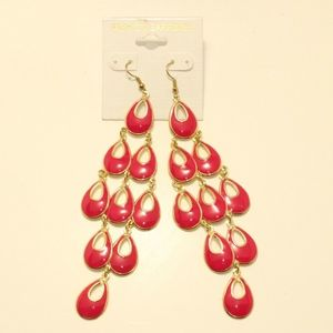 Jewelry - 3 for $15 Dangle Earrings Layered Gold/Pink Teardr